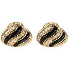 Black Onyx and Diamond Earrings in 18 Karat Yellow Gold 1.5 Carat