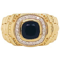 Black Onyx and Diamond Halo Men's Band 14K Yellow Gold .25 Carat Diamond Ring