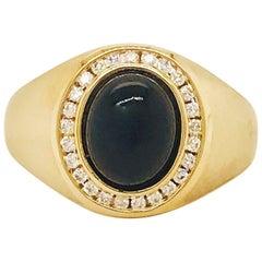 Black Onyx and Diamond Men's Ring 14 Karat Gold Satin Finish, Man's Oval Ring