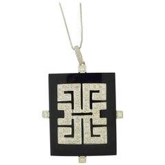 Black Onyx and Diamond Square Necklace/Pendant White Gold