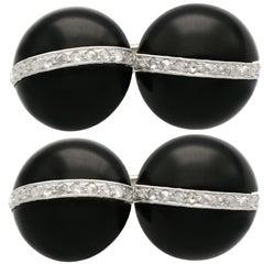 Black Onyx and Diamond White Gold Cufflinks, Art Deco, Antique, circa 1920
