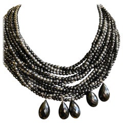 Black Onyx and Hematite Beaded Statement Necklace with Sterling Silver Clasp