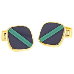 Black Onyx and Malachite Gold Cufflinks