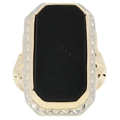 Black Onyx Art Deco Ring, 10k Yellow Gold Women's Vintage Cocktail Solitaire