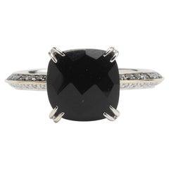 Black Onyx, Black and White Diamonds Fashion Ring
