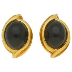 Black Onyx Cabochon Clip-On Stud Earrings Set in 18 Karat Yellow Gold