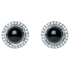 Black Onyx Cabochon Diamond 9 Karat White Gold Stud Earrings Natalie Barney