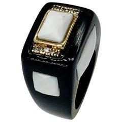 Black Onyx Checkerboard White Onyx 10 Diamond Ring Retro 14 Karat Gold