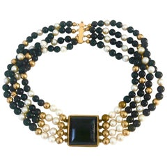 Black Onyx Choker with Cultured Pearls and 14K Yellow Gold Findings and Clasp