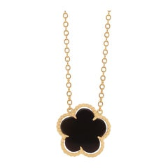 Black Onyx Clover 14 Karat Yellow Gold Beaded Edge Chain Necklace