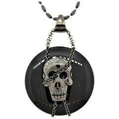 Black-Onyx Diamond Gold and Rhodium Skull Pendant