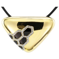 Black Onyx Diamond Gold Brooch Pendant