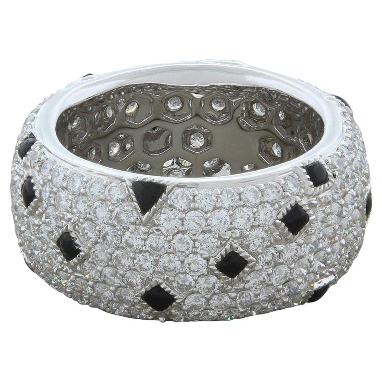 Black Onyx Diamond Gold Eternity Band Ring