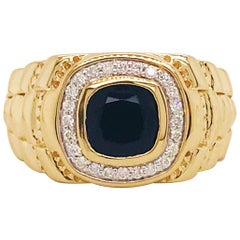 Black Onyx and Diamond Halo Men's Band 14K Yellow Gold .25 Carat Diamond Ring