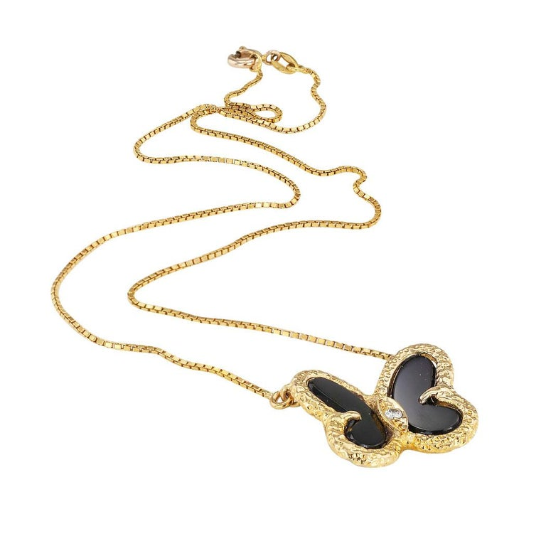 Black onyx diamond and yellow gold butterfly necklace.  Love it because it caught your eye, and we are here to connect you with beautiful and affordable jewelry.  Decorate Yourself!  Simple and concise information you want to know is listed below.