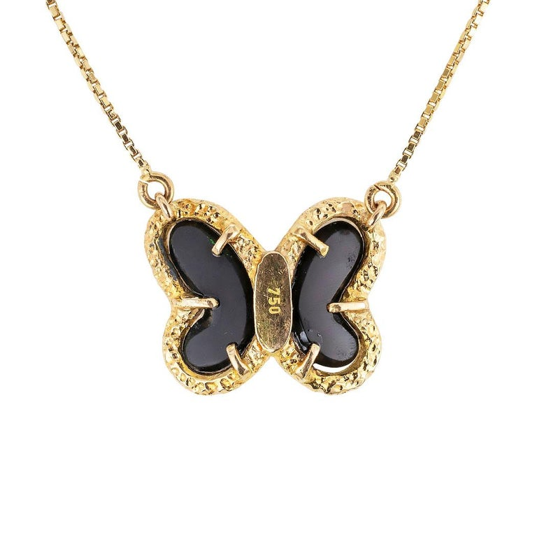 Round Cut Black Onyx Diamond Yellow Gold Butterfly Necklace For Sale