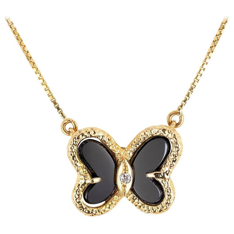 Black Onyx Diamond Yellow Gold Butterfly Necklace For Sale