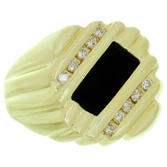 Black Onyx Diamond Yellow Gold Men's Substantial Ring