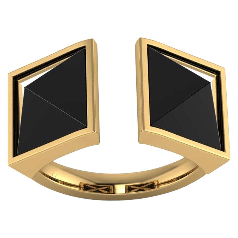 Black Onyx Double Pyramids Open Ring 18 Karat Yellow Gold Ring