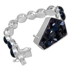 Stephen Dweck Black Onyx & Garnet Tennis Bracelet with Druzy Clasp