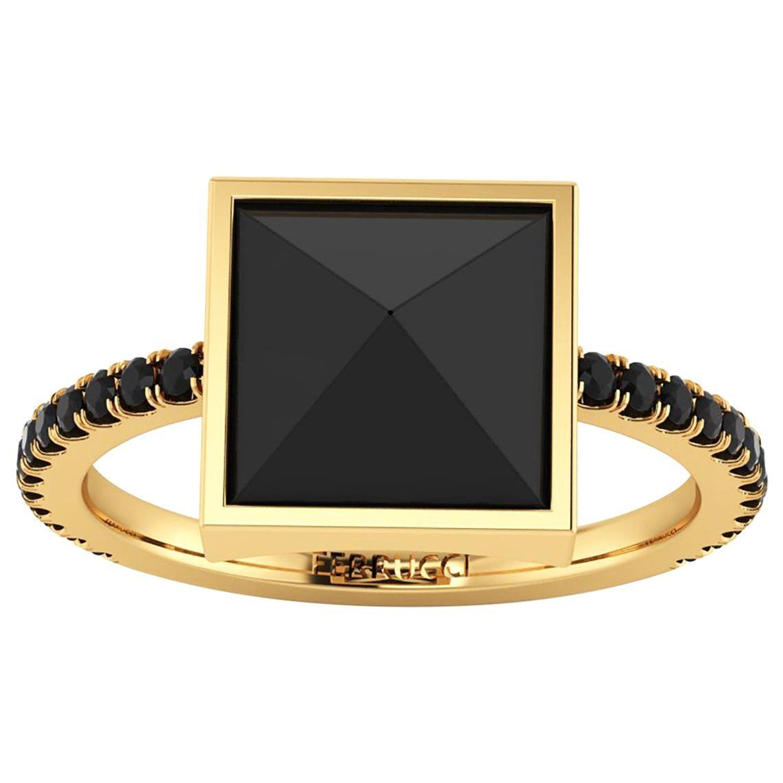 Black Onyx Pyramid Black Diamonds 18 Karat Yellow Gold Ring