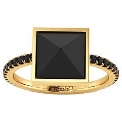 Black Onyx Pyramid Black Diamonds 18 Karat Yellow Gold Ring