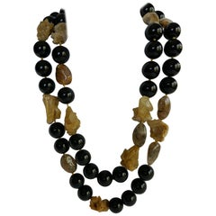 Black Onyx Rutilated Quartz Hemaphyte 925 Silver Clasp Long Gemstone Necklace