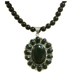 Exolette Black Onyx Sterling Pendant Necklace Earring Set