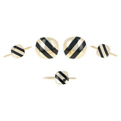 Black Onyx Stripe Tuxedo Set, 14 Karat Gold Men's Cufflinks and Shirt Studs