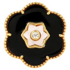 Black Onyx Topaz Mother of Pearl Flower Ring