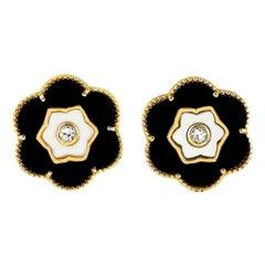 Black Onyx Topaz Mother of Pearl Flower Stud Earrings