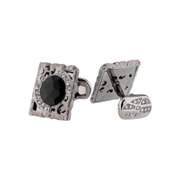 Black Onyx White Diamond Fabulous 18 Karat White Gold Cufflinks