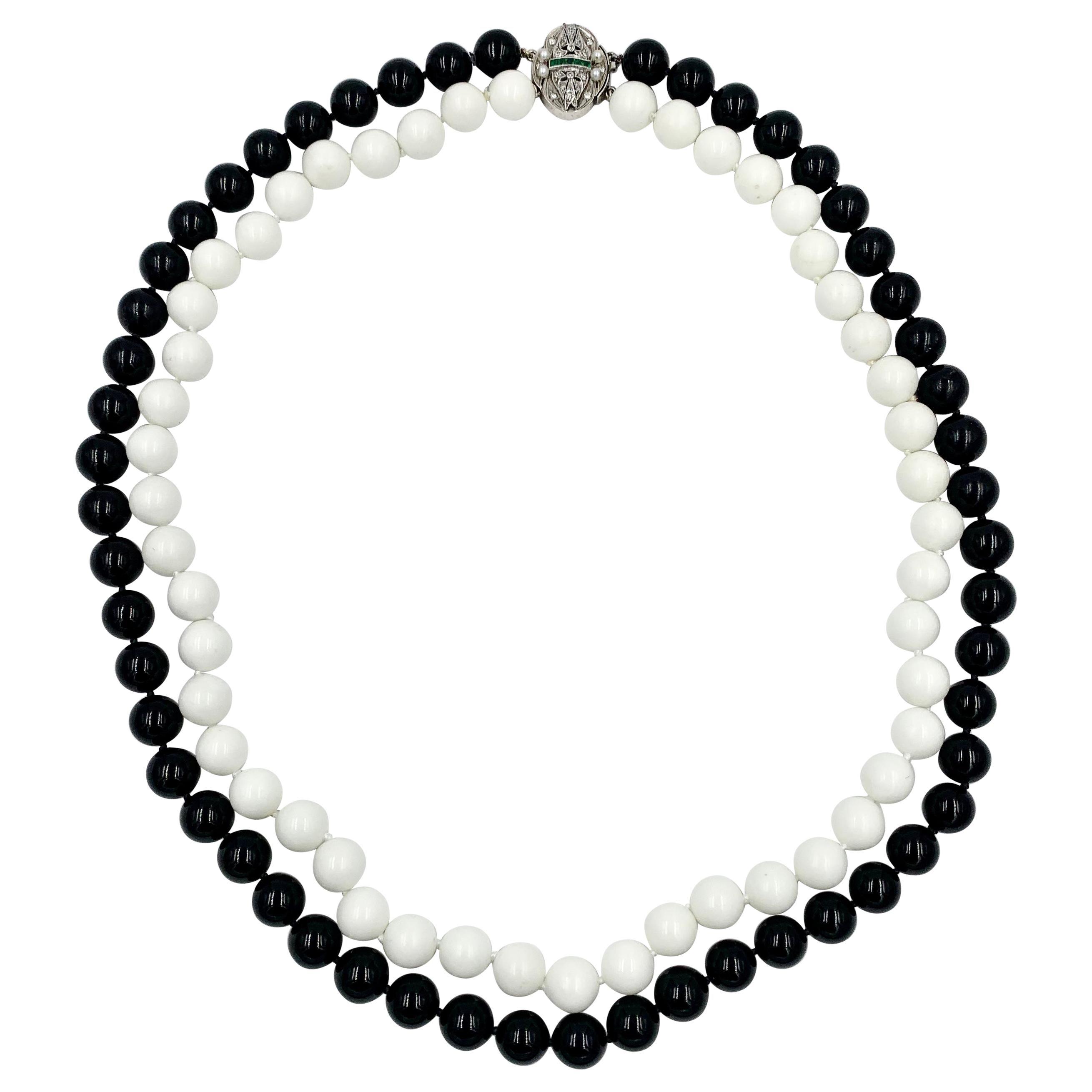 Black Onyx White Onyx Bead Diamond Emerald 14 Karat White Gold Necklace