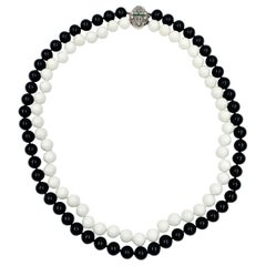 Black Onyx White Onyx Bead Diamond Emerald 14 Karat White Gold Necklace