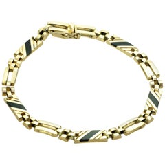 Black Onyx Yellow Gold Link Unisex Bracelet