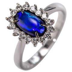 Black Opal 14K Gold Diamond Ring Princess Diana Style Natural Electric Blue Gem