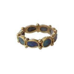 Black Opal 22 Karat Gold Bezel Band Fashion Ring One-of-a-Kind Handmade Jewelry