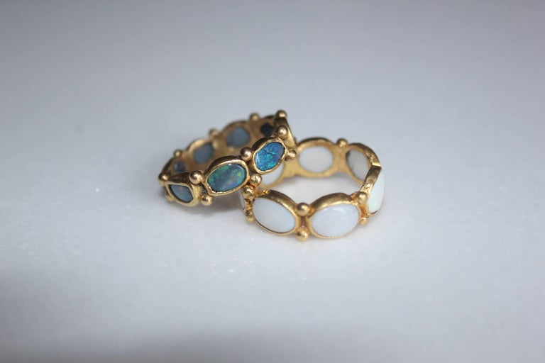 Black Opal 22 Karat Gold Bezel Band Fashion Ring One-of-a-Kind Handmade Jewelry For Sale 1