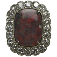 Black Opal 9.79 Ct. Diamond 1930 Cocktail Ring Lightning Ridge Australia Vintage
