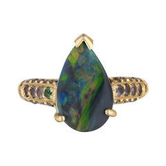 Black Opal and Alexandrite Contemporary Ring