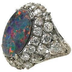 Black Opal and Diamond on Platinum Ring