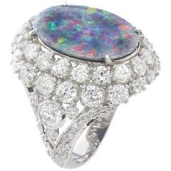 Black Opal and Diamond on Platinum Ring