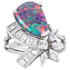 Black Opal and Diamond Ring, 1.77 Carat