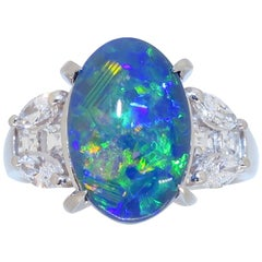 Black Opal and Diamond Ring Made in Platinum