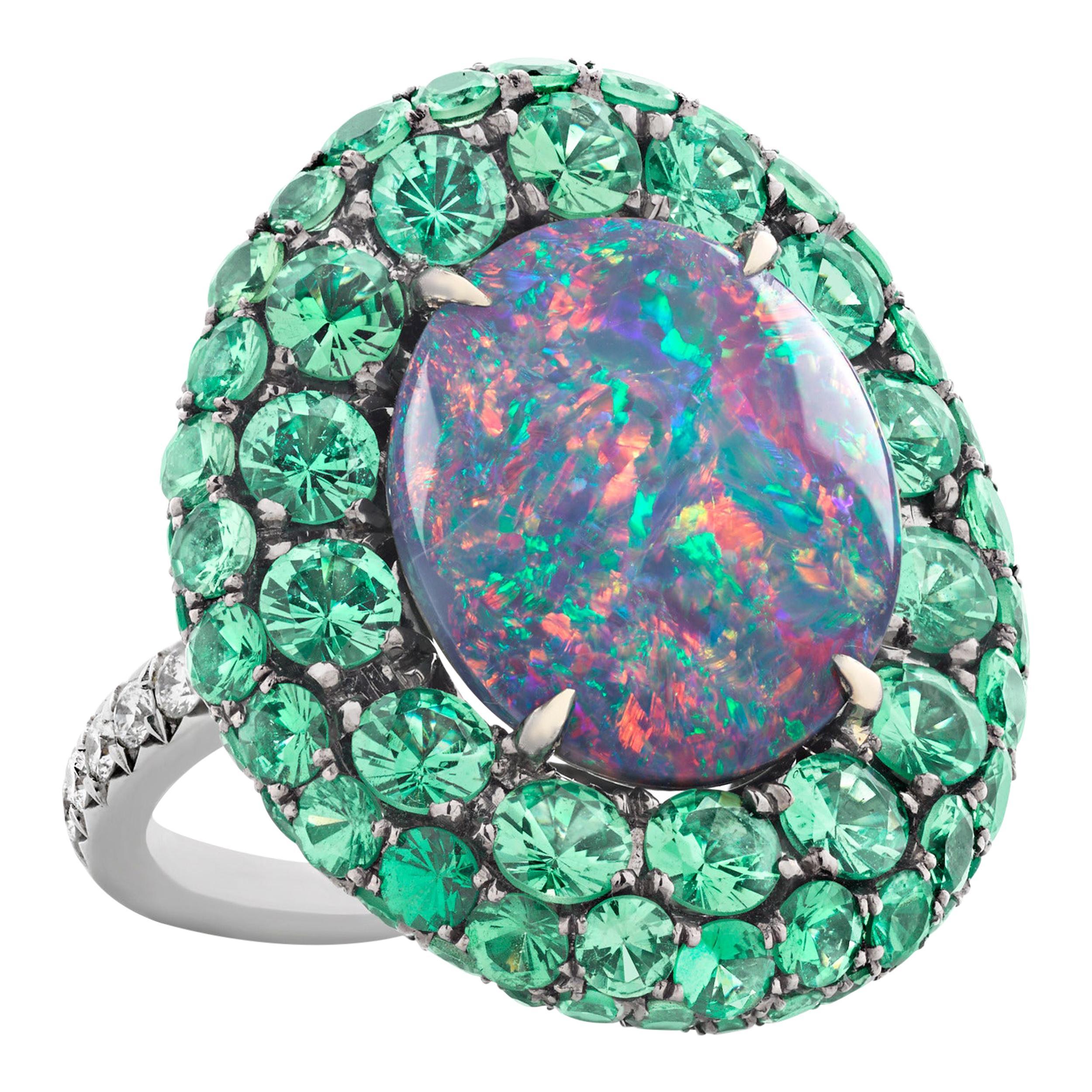 Black Opal and Tsavorite Garnet Ring, 5.83 Carat