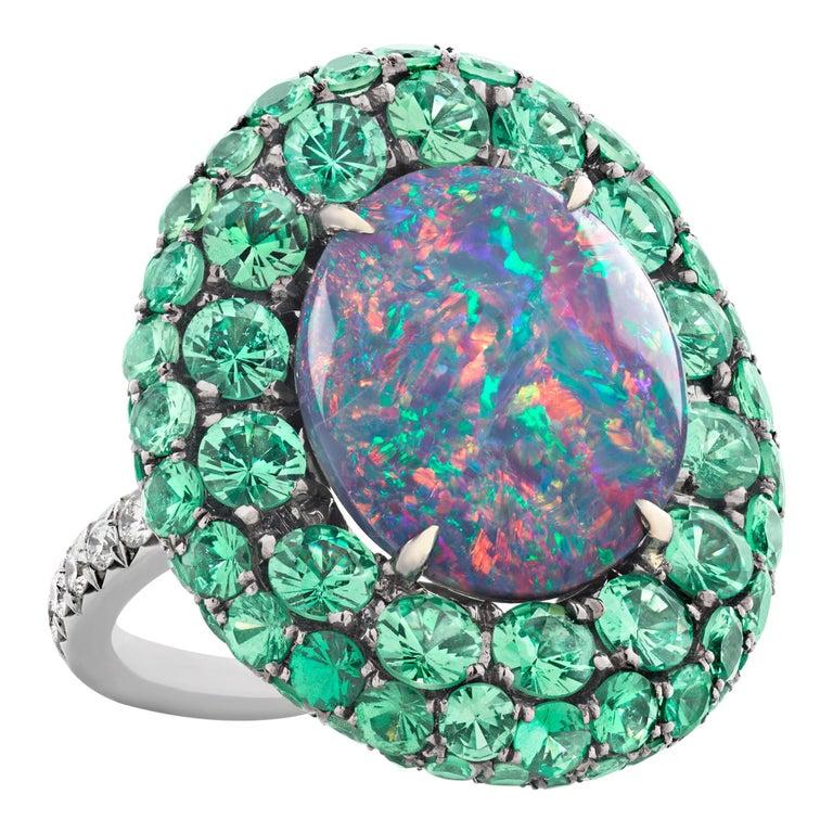 Black Opal and Tsavorite Garnet Ring, 5.83 Carat For Sale