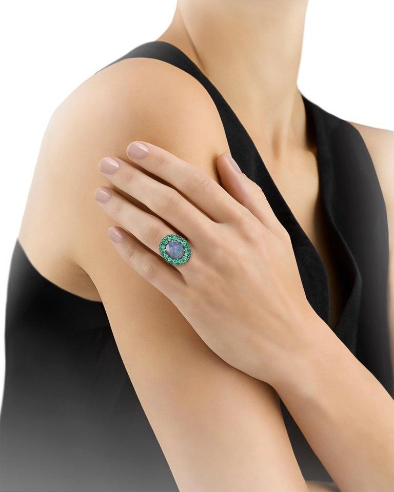 Contemporary Black Opal and Tsavorite Garnet Ring, 5.83 Carat For Sale
