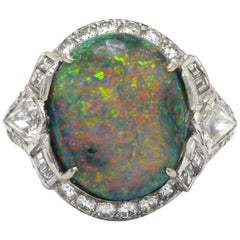 Black Opal Art Deco Dome Cocktail Ring Lightning Ridge Diamond Halo Platinum