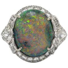 Black Opal Art Deco Dome Cocktail Ring Lightning Ridge Diamond Halo Platinum