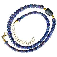 Black Opal Beaded Necklace Diamond Encrusted Bead 18 Karat Gold Beads